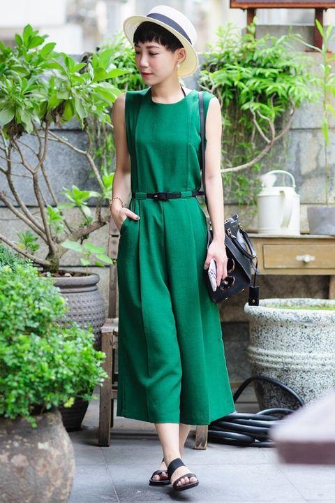 Clothing, Hat, Dress, Shoulder, Flowerpot, Fashion accessory, Street fashion, One-piece garment, Bag, Slipper,