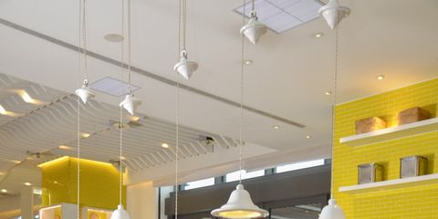Lighting, Ceiling, Interior design, Light fixture, Interior design, Ceiling fixture, Retail, Decoration, Convenience store, Shelf,
