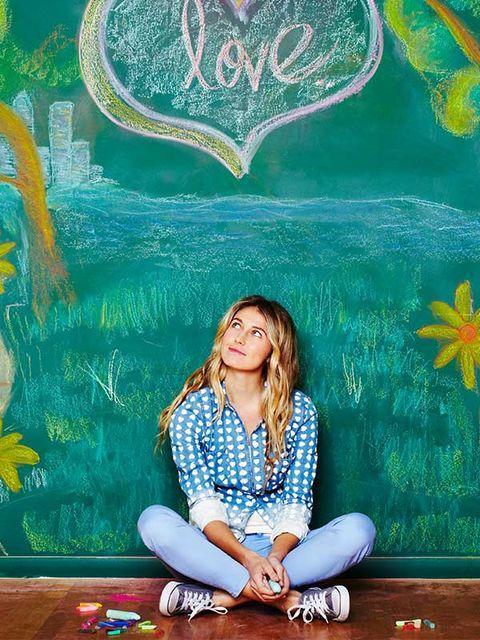 Sitting, Majorelle blue, Visual arts, Illustration, Painting, Paint, Love, Art paint, sunflower,