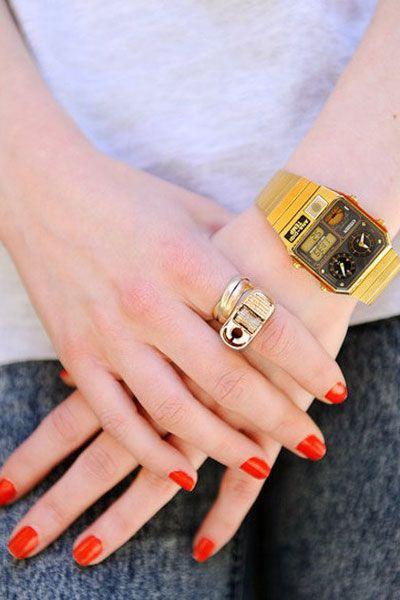 Finger, Skin, Wrist, Nail, Joint, Red, Nail care, Nail polish, Manicure, Ring,