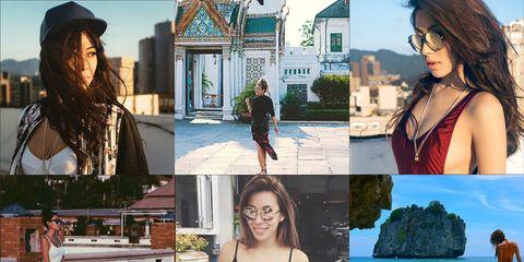 Eyewear, Human, Photograph, Leisure, Summer, Collage, Tourism, Beauty, Vacation, Black hair,
