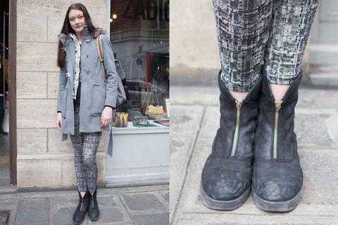 Clothing, Footwear, Leg, Textile, Outerwear, Coat, Street fashion, Style, Jacket, Pattern,