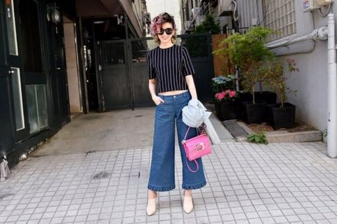 Clothing, Shoulder, Textile, Bag, Photograph, Denim, Sunglasses, Style, Street fashion, Fashion accessory,