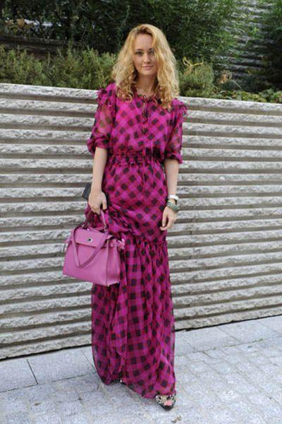 Clothing, Dress, Shoulder, Textile, Magenta, Purple, Pink, Bag, Style, Pattern,