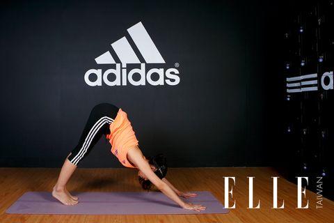 Human leg, Wrist, Elbow, Flooring, Exercise, Physical fitness, Hardwood, Knee, Logo, Active pants,