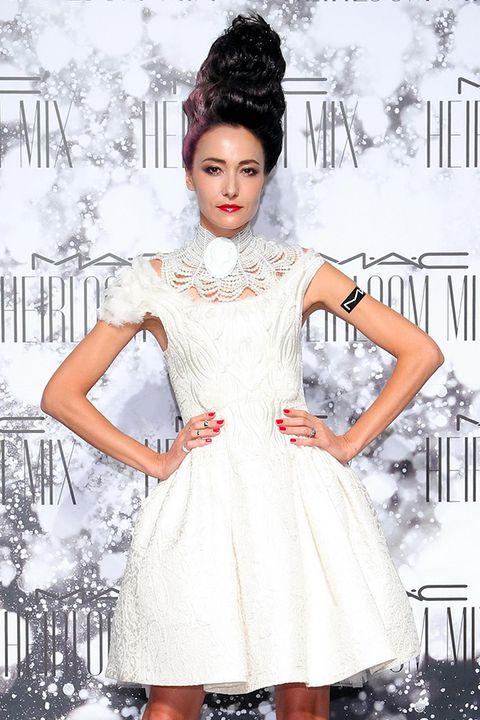 Clothing, Dress, Shoulder, White, Style, Pattern, One-piece garment, Headgear, Fashion, Lipstick,