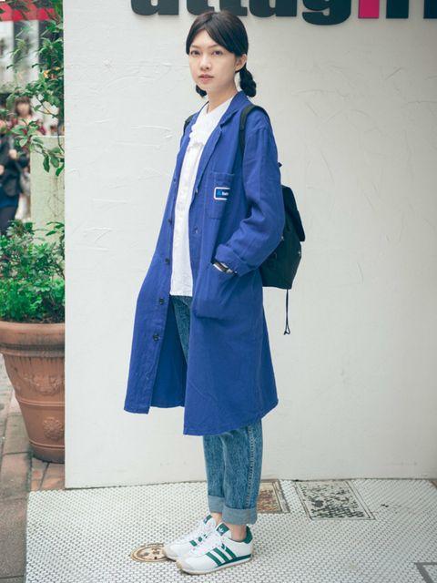 Flowerpot, Blue, Sleeve, Coat, Outerwear, Style, Street fashion, Bag, Jacket, Electric blue,