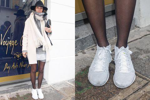 Footwear, Leg, Human leg, Textile, Shoe, Joint, White, Outerwear, Fashion accessory, Style,
