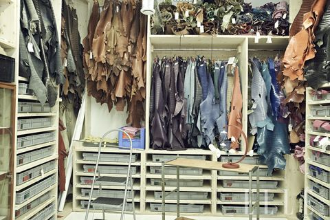 Denim, Collection, Shelving, Shelf, Clothes hanger, Closet, Natural material,