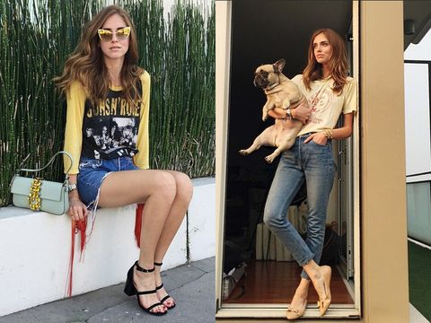 Leg, Human, Denim, Human leg, Textile, Jeans, Dog breed, Style, Sitting, Dog,