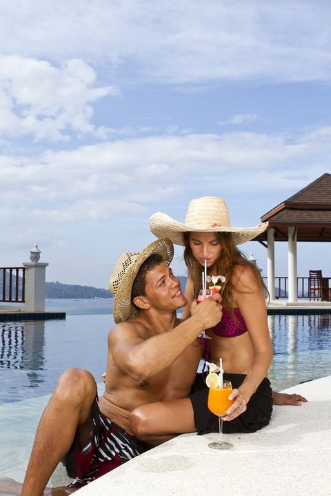 Hat, Tourism, Leisure, Summer, Drink, Vacation, Sun hat, Barechested, Chest, Muscle,