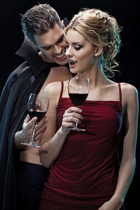 Ear, Glass, Wine glass, Stemware, Drinkware, Drink, Hand, Dress, Red, Tableware,