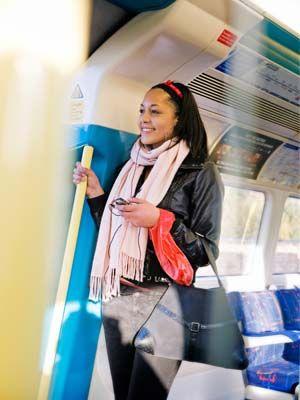 Transport, Product, Bag, Scarf, Travel, Electric blue, Passenger, Public transport, Service, Snapshot,