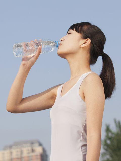 Liquid, Drinkware, Shoulder, Bottle, Bottled water, Drinking water, Plastic bottle, Water bottle, Sleeveless shirt, Fluid,