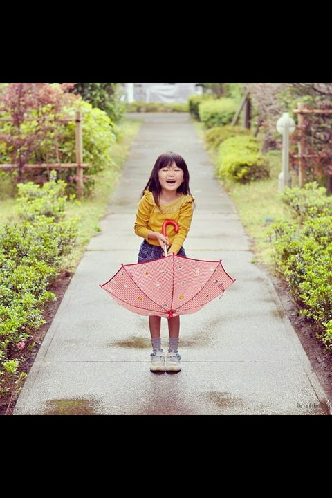 Shrub, Magenta, Garden, Costume, Pattern, Street fashion, Pattern, Day dress, Umbrella, Child model,
