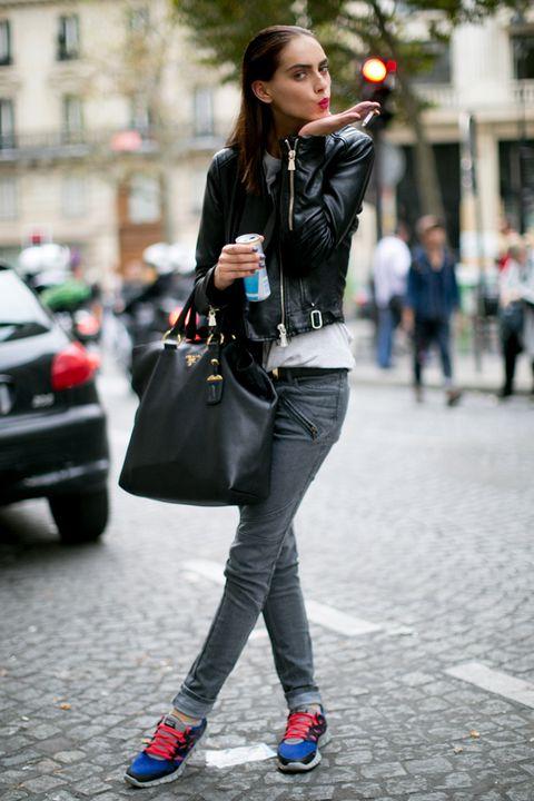 Clothing, Street, Textile, Road, Photograph, Outerwear, Bag, Street fashion, Style, Denim,