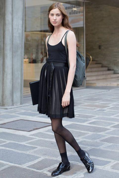 Clothing, Footwear, Dress, Human leg, Shoulder, Joint, Style, Street fashion, Fashion accessory, Bag,