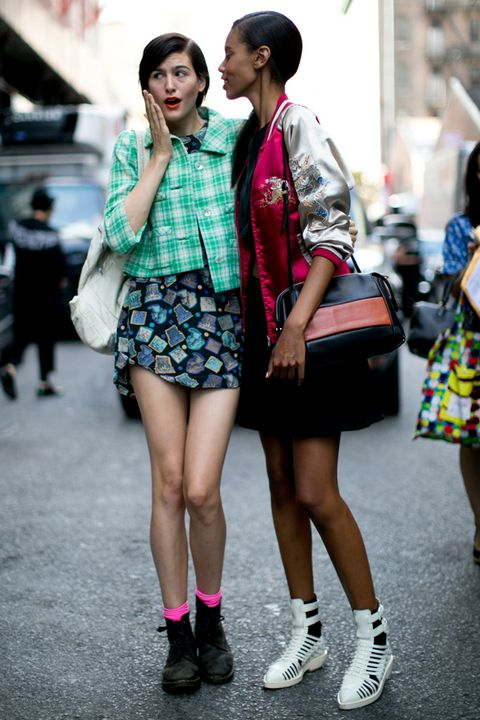 Clothing, Footwear, Leg, Human leg, Road, Pattern, Shoe, Photograph, Street, Bag,