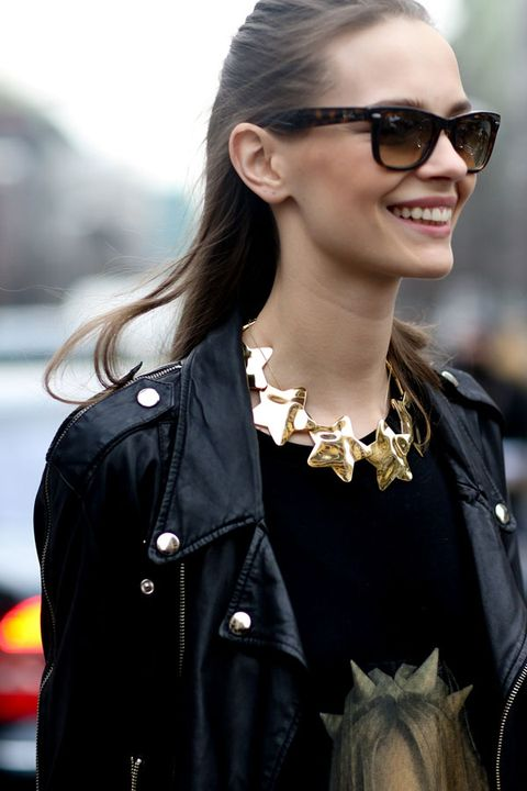 Clothing, Eyewear, Glasses, Vision care, Hairstyle, Earrings, Collar, Sunglasses, Outerwear, Style,