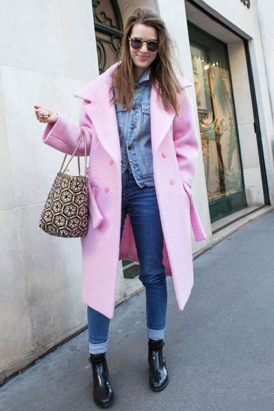 Clothing, Footwear, Textile, Outerwear, Bag, Pink, Coat, Sunglasses, Magenta, Boot,