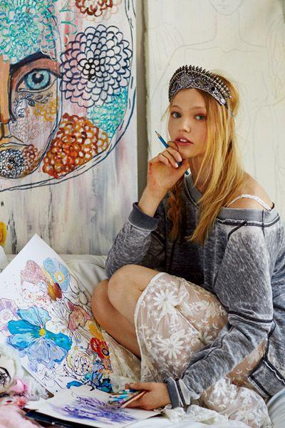 Cap, Style, Sitting, Paint, Art, Art paint, Hair accessory, Visual arts, Creative arts, Long hair,
