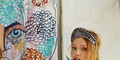 Style, Paint, Sitting, Cap, Art, Art paint, Hair accessory, Visual arts, Creative arts, Artwork,
