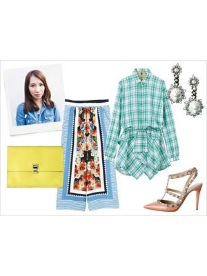 Product, Sleeve, Collar, Textile, Dress shirt, Pattern, Fashion, Teal, Turquoise, Tartan,
