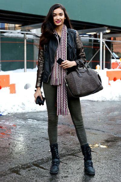 Clothing, Brown, Textile, Bag, Outerwear, Winter, Boot, Street fashion, Style, Fashion accessory,