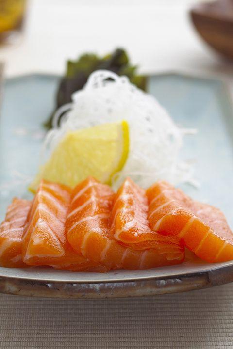 Cuisine, Food, Orange, Ingredient, Dishware, Tableware, Sashimi, Plate, Fish slice, Seafood,