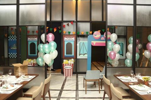Balloon, Interior design, Party supply, Furniture, Room, Table, Decoration, Turquoise, Teal, Party,