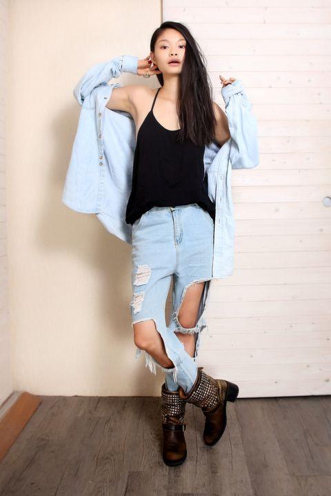 Clothing, Footwear, Brown, Shoulder, Denim, Textile, Joint, Outerwear, Human leg, Jeans,