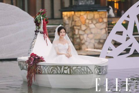 Dress, Bridal clothing, Photograph, Bride, Wedding dress, Gown, Petal, Fashion accessory, Sitting, Beauty,