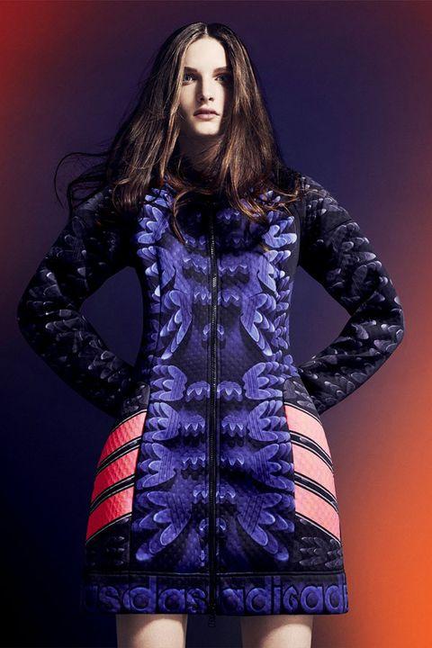 Human body, Sleeve, Textile, Fashion model, Purple, Dress, Fashion, Jacket, Electric blue, Long hair,