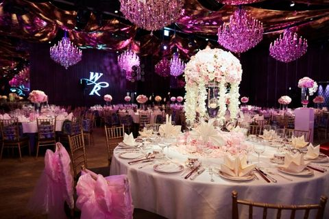 Tablecloth, Lighting, Event, Decoration, Function hall, Purple, Textile, Dishware, Furniture, Pink,