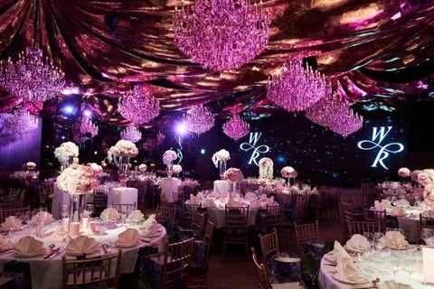 Lighting, Event, Decoration, Tablecloth, Purple, Function hall, Pink, Violet, Furniture, Magenta,