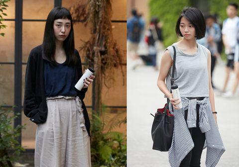 Textile, Style, Bag, Street fashion, Pattern, Black hair, Waist, Fashion, Snapshot, Long hair,