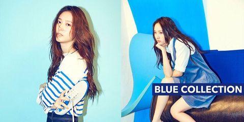 Blue, Leg, Hairstyle, Eye, Denim, Electric blue, Beauty, Black hair, Fashion, Thigh,