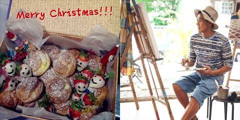 Cap, Ladder, Toy, Easel, Baseball cap, Baked goods, Bread, Recipe, Paint, Sweetness,