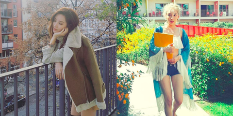 Denim, Textile, Winter, Jacket, Street fashion, Fashion, Bag, Fur, Natural material, Waist,