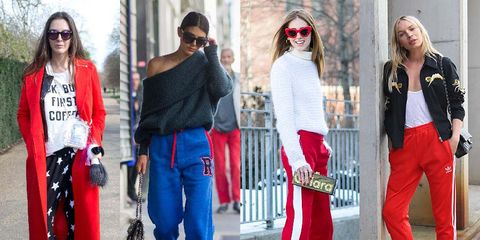Clothing, Eyewear, Footwear, Vision care, Leg, Trousers, Sunglasses, Red, Bag, Textile,