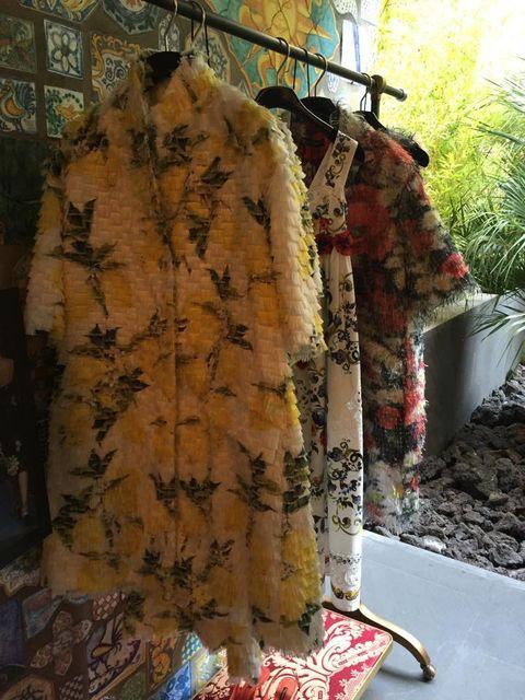 Textile, Natural material, Pattern, Linens, Floral design, Creative arts, Clothes hanger, Collection,
