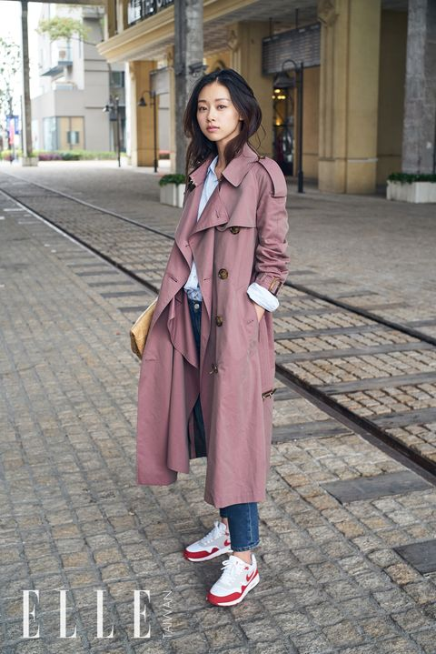 Clothing, Photograph, Street fashion, Trench coat, Pink, Snapshot, Coat, Fashion, Outerwear, Footwear,