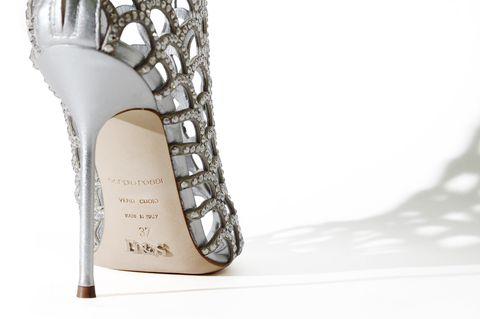 Shoe, Fashion accessory, Bridal shoe, Bridal accessory, Beige, Sandal, Natural material, Silver, High heels, Fashion design,