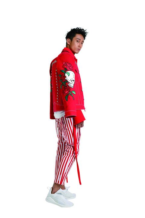 Clothing, Red, Costume, Fashion, Pajamas, Suit, Outerwear, Trousers, Sleeve, Fashion design,