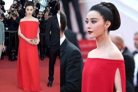 Hairstyle, Event, Trousers, Coat, Dress, Red, Outerwear, Formal wear, Suit, Style,