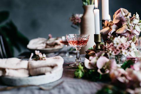 Flower, Spring, Table, Meal, Photography, Wine glass, Floral design, Flower Arranging, Stemware, Champagne stemware,