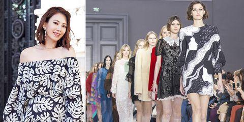 Fashion model, Fashion, Clothing, Runway, Shoulder, Fashion show, Fashion design, Beauty, Dress, Haute couture,