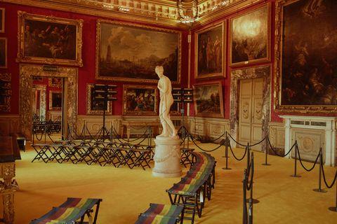Room, Building, Interior design, Palace, Ballroom, Visual arts, Tourist attraction, Art, Architecture, Furniture,