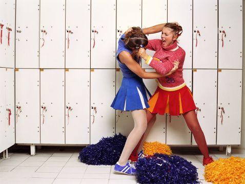 Interaction, Electric blue, Cheerleading, Cobalt blue, Pom-pom, Love, One-piece garment, Costume, Dance, Locker,