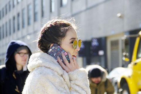 Eyewear, Winter, Street fashion, Fashion accessory, Jacket, Fur clothing, Fur, Natural material, Animal product, Goggles,